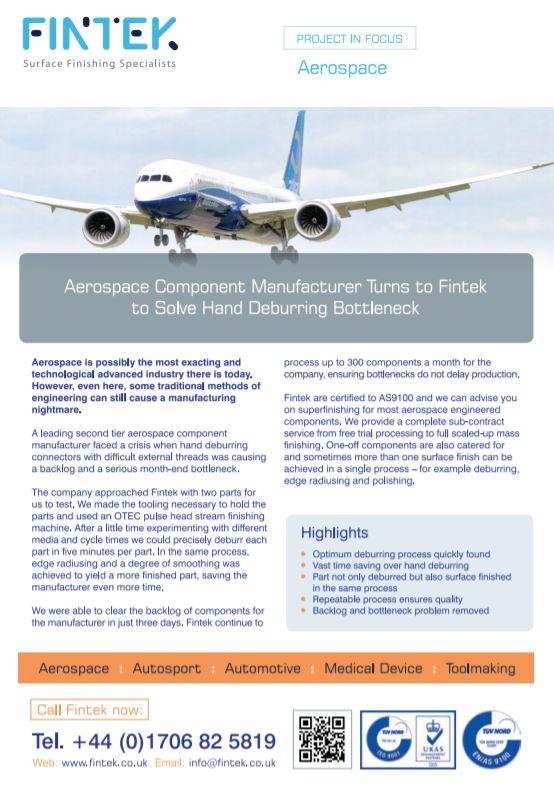 Aerospace manufacturer turns to Fintek to solve hand deburring bottleneck - Brochure