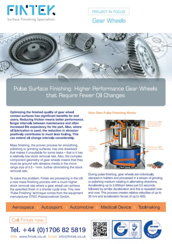 Optimising the finished quality of gear wheels means fewer oil changes - Brochure